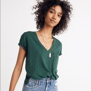 Madewell Green V-Neck Short Sleeve Tee Size Large